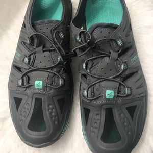 Grey and aqua Sperry top siders sneakers size 9M